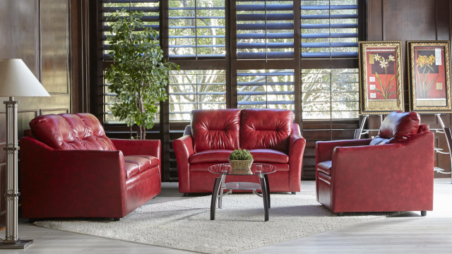 Red Faux Leather Sofa and Love Seat