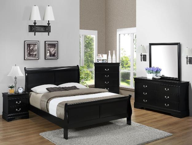 Louis Philip Black Sleigh Bedroom Set