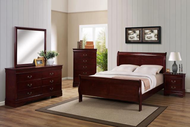 Louis Philip Cherry Wood Sleigh Bed Set