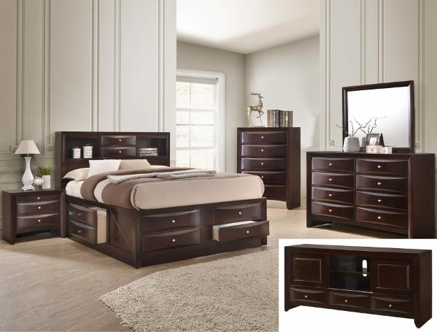 Emily Cherry Wood Storage Bedroom Set